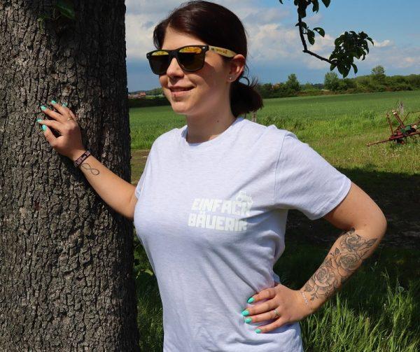 Einfach Bauer Shirt Hellgrau Weiß